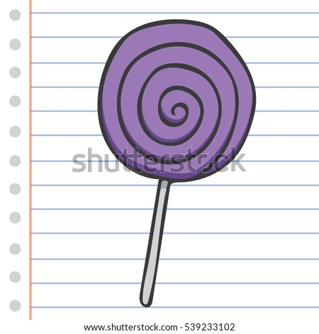 Lollipop Candy  Cartoon Style Hand drawn Vector Isolated