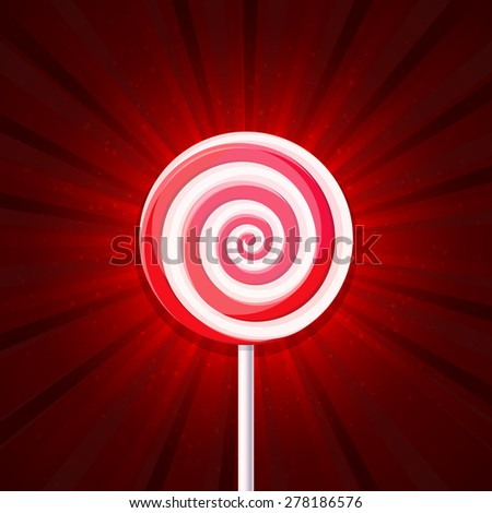 Lollipop Candy on Red Background. Vector - stock vector