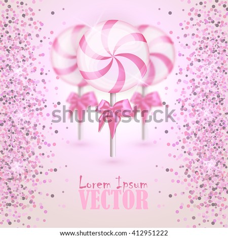 Lollipop, color realistic candy flyer, brochure. Invitation for holiday, disco party, birthday party. Candy on stick with twisted design. Vector illustration. EPS 10. - stock vector