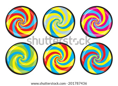 Lollipop face. Striped peppermint candy with black line, isolated on white background, vector - stock vector