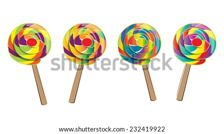 Lollipop isolated, doodle style - stock vector