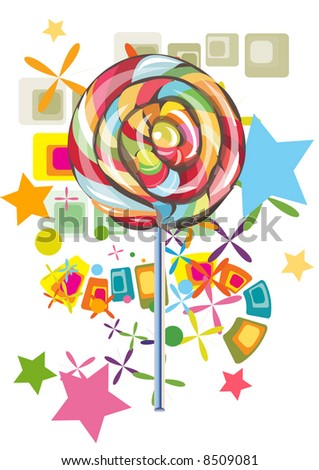 lollipop with abstract background - stock vector
