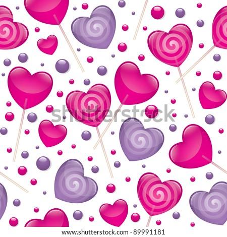 lollipops seamless pattern, valentine's day illustration, vector eps 10 - stock vector