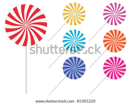 Lollipops - sweets candy set - vector illustration - stock vector