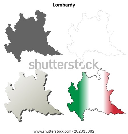 Lombardy blank detailed outline map set - vector version - stock vector