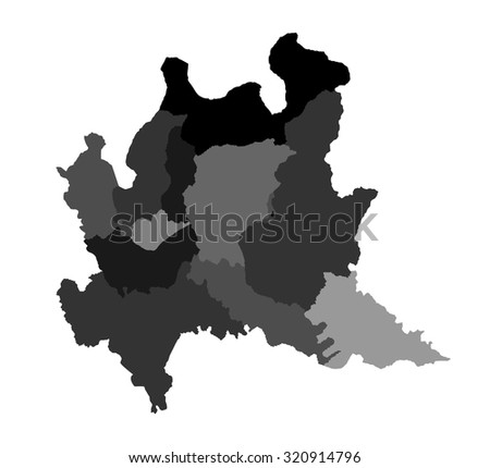 Lombardy, Lombardia, Italy vector map illustration isolated on white background. - stock vector