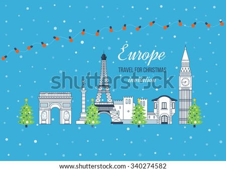 London and France flat icons design travel concept. Travel to Europe for christmas. Invitation card. Merry Christmas greeting card design. France Christmas winter. Europe Christmas and New Year. - stock vector