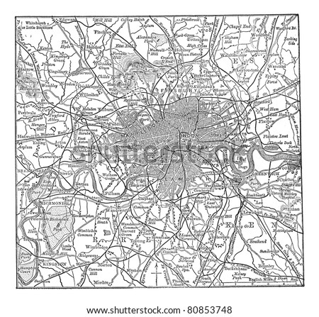 London and its environs, during the 1890s, vintage engraving.  Old engraved illustration of London  map with its environs. Trousset encyclopedia (1886 - 1891). - stock vector