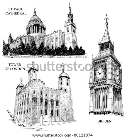 London Architectural Symbols St Paul Cathedral Big Ben And Tower Of