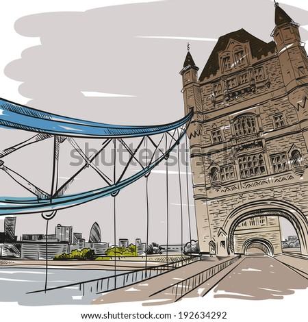 London bridge hand drawn, vector illustration - stock vector