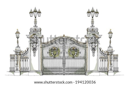 London, Buckingham palace gate, Sketch collection - stock vector