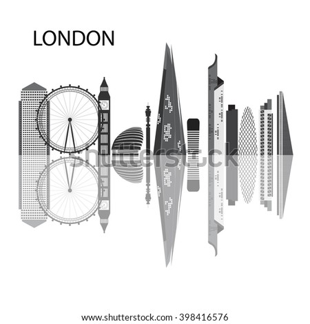 London - capital city of the United Kingdom of Great Britain and Northern Ireland. One of the largest and most interesting cities in Europe. black and white illustration logo - stock vector
