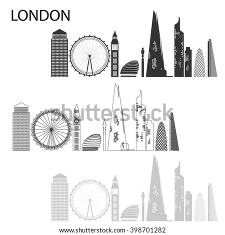 London - capital city of the United Kingdom of Great Britain and Northern Ireland. One of the largest and most interesting cities in Europe.  - stock vector
