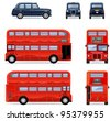 London city bus and cab (Set #33) - stock vector