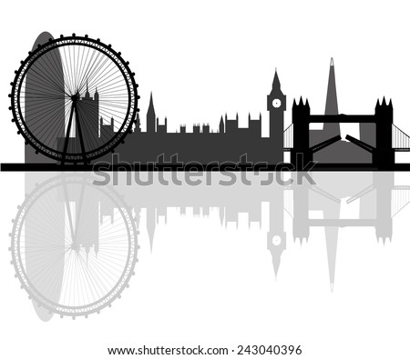 London city skyline silhouette background, vector illustration - stock vector