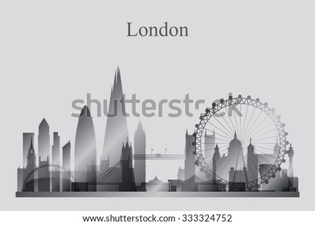London city skyline silhouette in grayscale, vector illustration
