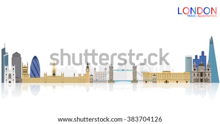 London city skyline vector illustration, England - stock vector