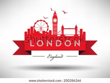 London City Skyline with Typographic Design  - stock vector