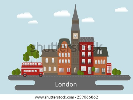 London cityscape. Flat design illustration. - stock vector