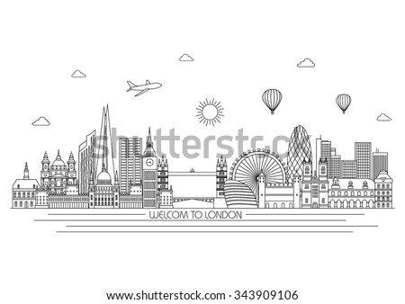London detailed Skyline. Travel and tourism background. Vector background. line illustration. Line art style - stock vector