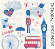 London doodles set - stock vector
