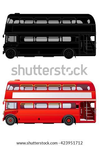 London double decker red bus, vector illustration. Isolated on white. Icon. Silhouette. Flat style. High level of details. Transparent windows in the cabin.