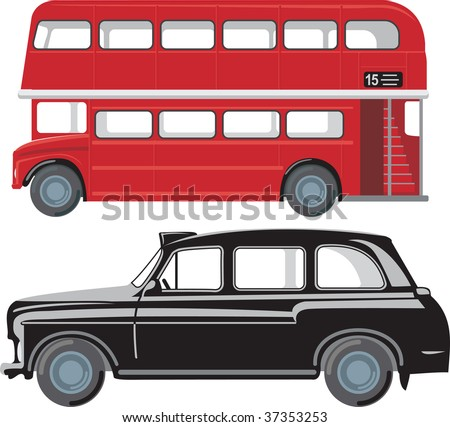 London doubledecker red bus and traditional taxi cab - stock vector