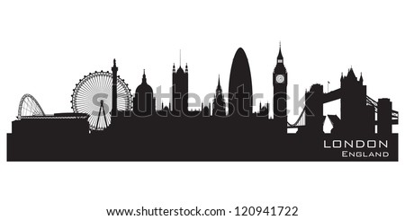 London, England skyline. Detailed silhouette. Vector illustration - stock vector