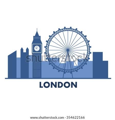 London - England vector illustration, white background. - stock vector