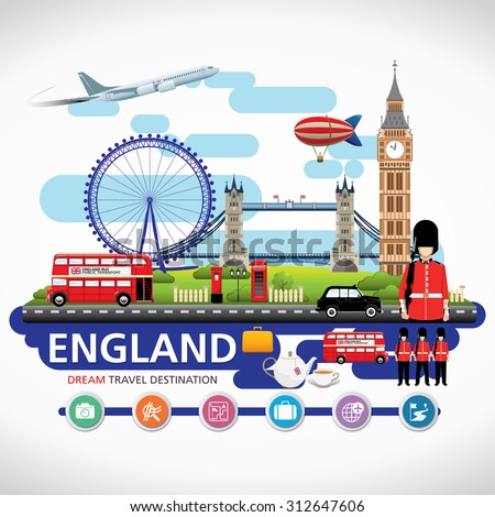 London, England Vector travel destinations icon set, Info graphic elements for traveling to England. - stock vector