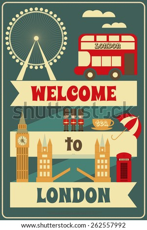 London. English Card with British theme. Vector Illustration. - stock vector
