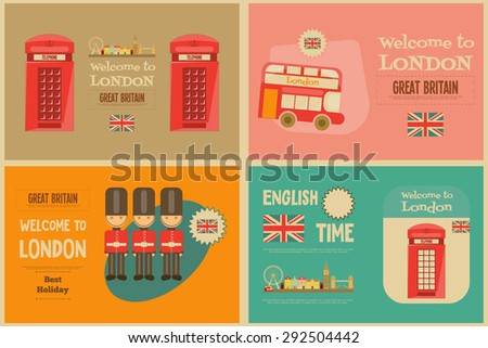 London. English Mini Posters Collection with British theme. Vector Illustration. - stock vector