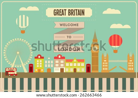 London. English Postcard with British theme. Vector Illustration. - stock vector