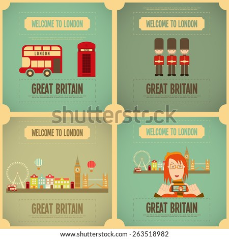 London. English Poster Set with British theme. Vector Illustration. - stock vector