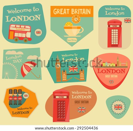 London. English Stickers Collection with British theme. Vector Illustration. - stock vector