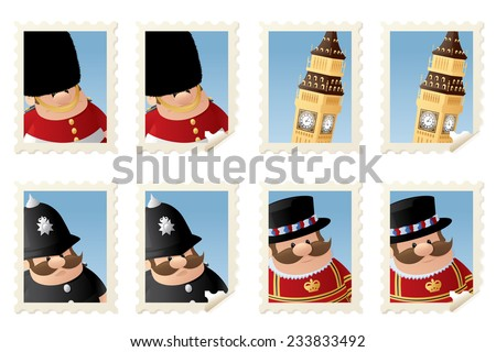 London figures and Beg Ben stamps. - stock vector