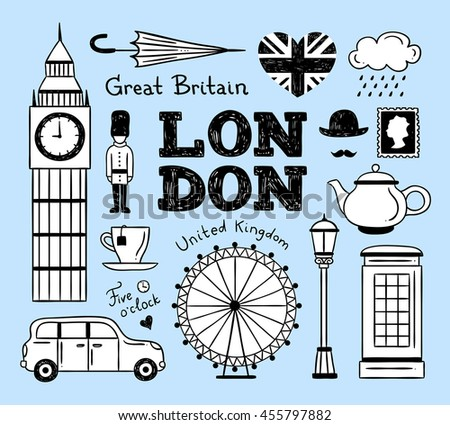 London hand drawn icons and symbols: architecture, building, travel signs, cab, tea, teapot, guardsman landmarks icons