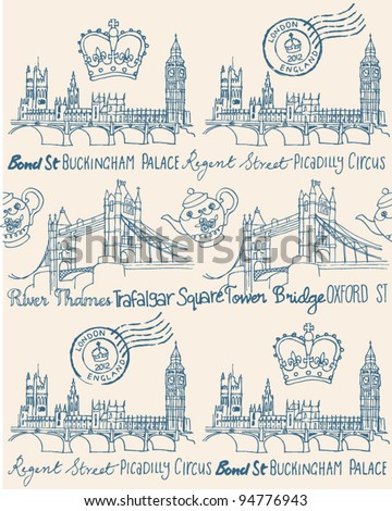 London Houses of Parliament and Tower Bridge seamless background - stock vector
