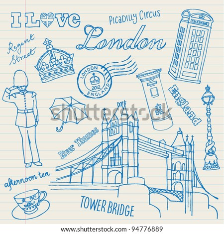 London icons doodles drawing background vector - stock vector