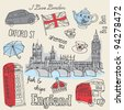 London icons doodles drawing vector - stock vector