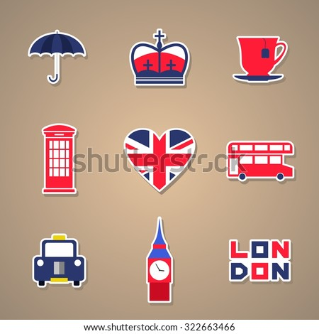London Icons set Stickers. Vector illustration - stock vector