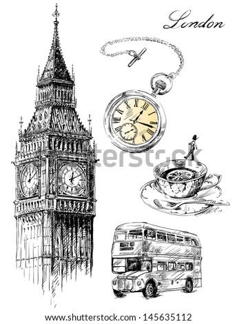 London illustration set - stock vector