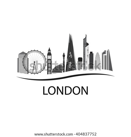 London is the capital of England. London Silhouette of houses. London attractions of the city. Business district, Eye, Big Ben London. - stock vector