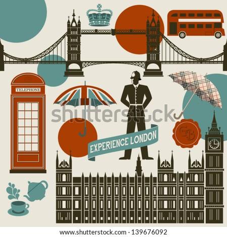 London Landmarks, Symbols and Icons - Set of famous London landmarks and icons, including Westminster Palace, London Bridge, Big Ben, double decker bus and English Bobby - stock vector