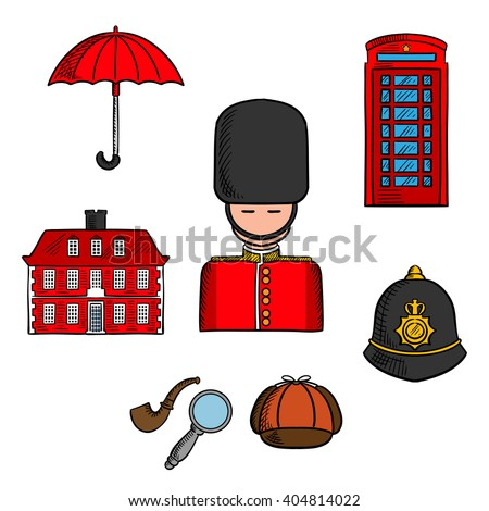London landmarks with queens guard soldier, umbrella, red telephone booth and brick house, police custodian helmet with golden badge, cap, smoking pipe and magnifier of Sherlock Holmes. Sketch style - stock vector