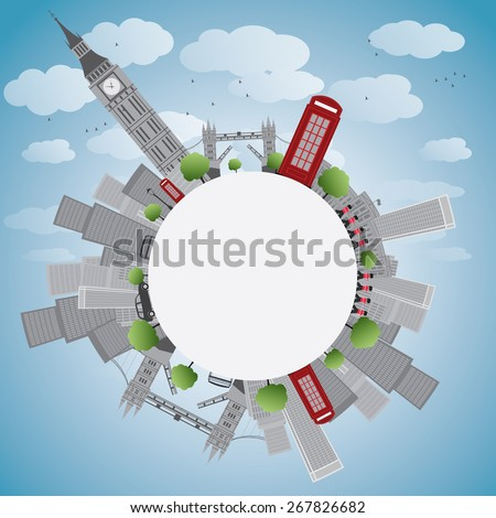 London panorama with big ben and skyscrapers Vector illustration with copy space. Business travel and tourism concept with place for text. Image for presentation, banner, placard and web site.