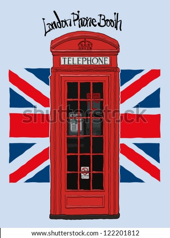 london phone booth - stock vector