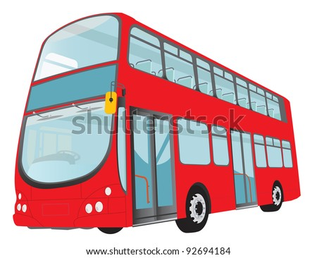 London red bus on white background. Vector - stock vector