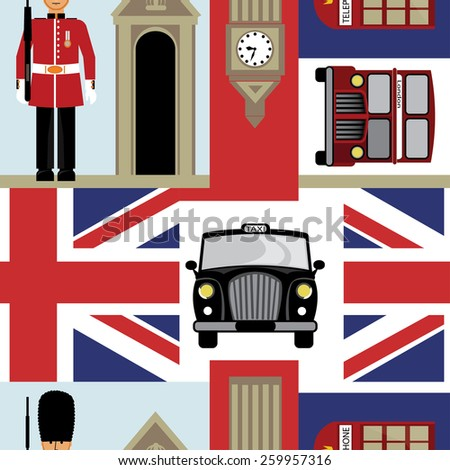 London seamless pattern design - stock vector