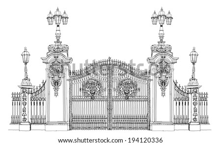 London, sketch collection, Buckingham palace gate - stock vector